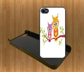 Two Cute Owls Custom Case/Cover FOR Apple IPhone 4 5 Samsung S3 /S4 BLACK/WHITE WITH FREE SCREEN PROTECTOR