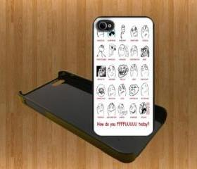 Troll ffffuuuuu Custom Case/Cover FOR Apple IPhone 4 5 Samsung S3 /S4 BLACK/WHITE WITH FREE SCREEN PROTECTOR