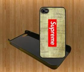 Supreme red on Old Newspaper Custom Case/Cover FOR Apple IPhone 4 5 Samsung S3 /S4 BLACK/WHITE WITH FREE SCREEN PROTECTOR