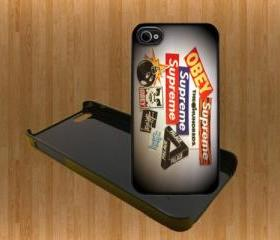 Supreme Obey Stussy Custom Case/Cover FOR Apple IPhone 4 5 Samsung S3 /S4 BLACK/WHITE WITH FREE SCREEN PROTECTOR