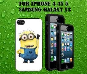 Despicable me Custom Case/Cover FOR Apple IPhone 4 5 Samsung S3 /S4 BLACK/WHITE WITH FREE SCREEN PROTECTOR
