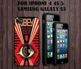 Obey All Seeing Eye Custom Case/Cover FOR Apple IPhone 4 5 Samsung S3 /S4 BLACK/WHITE WITH FREE SCREEN PROTECTOR