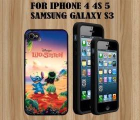 Disney Lilo Stitch Custom Case/Cover FOR Apple IPhone 4 5 Samsung S3 /S4 BLACK/WHITE WITH FREE SCREEN PROTECTOR