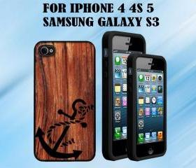 Anchor on a Wood Custom Case/Cover FOR Apple IPhone 4 5 Samsung S3 /S4 BLACK/WHITE WITH FREE SCREEN PROTECTOR