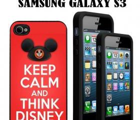 Keep Calm An Think Disney custom Case/Cover FOR Apple IPhone 4 5 Samsung S3 /S4 BLACK/WHITE WITH FREE SCREEN PROTECTOR