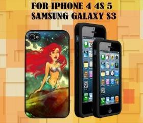 Little mermaid custom Case/Cover FOR Apple IPhone 4 5 Samsung S3 /S4 BLACK/WHITE WITH FREE SCREEN PROTECTOR